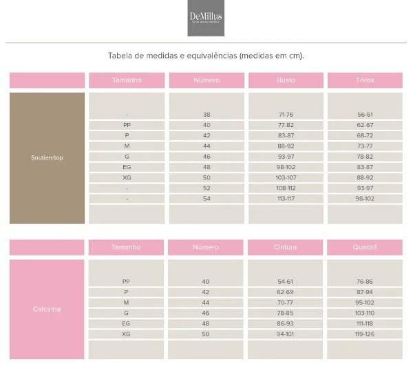 lingerie demillus tabela medidas tamanhos