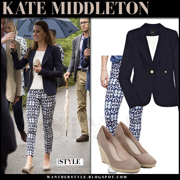 Kate Middleton in blue navy smythe blazer, blue ikat print gap pants and beige wedges monsoon fleur what she wore