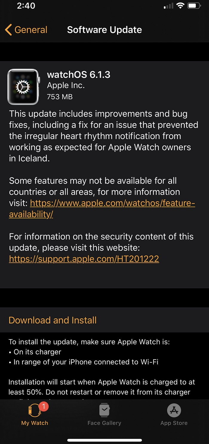 watchOS 6.1.3 Features Changelog