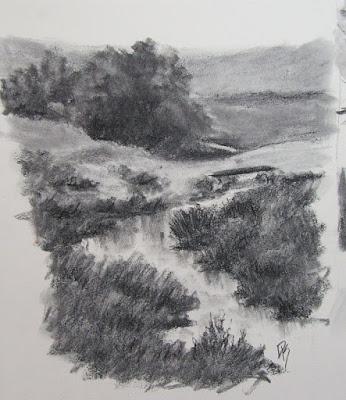 charcoal sketch landscape ditch farm rural