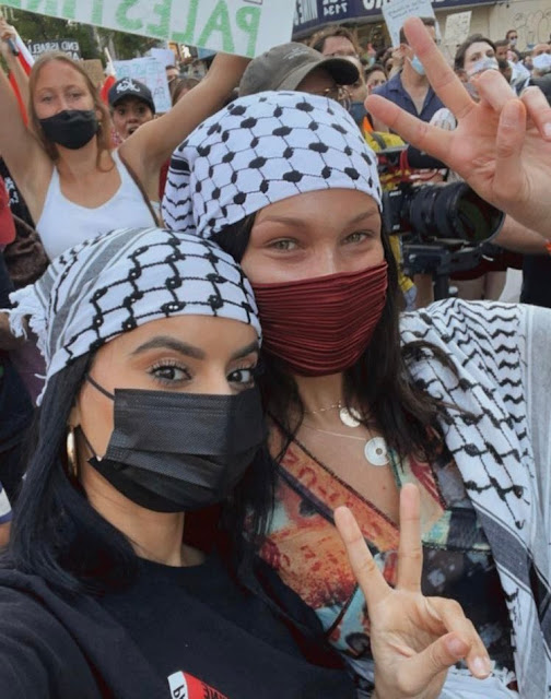 بيلا حديد فى مظاهرات ضد اسرائيل