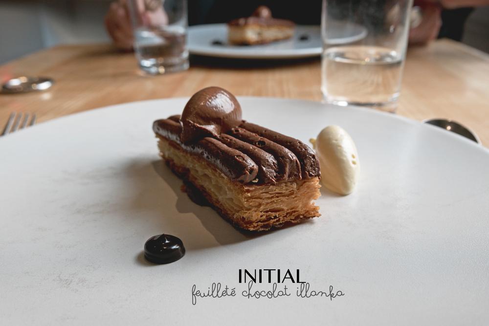 dessert du Restaurant Initial Caen : feuilleté chocolat illanka