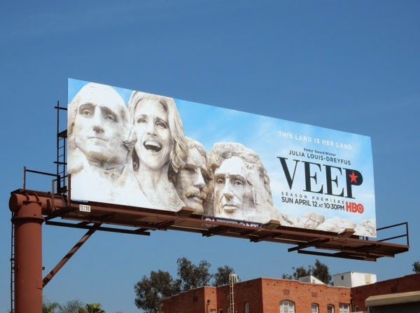 Veep season 4 Mount Rushmore parody billboard