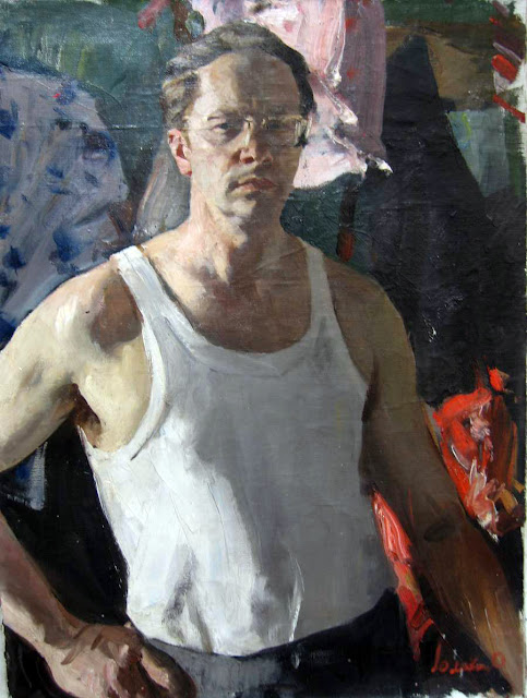 Oleg Lomakin, Self Portrait, Portraits of Painters, Fine arts, Portraits of painters blog, Paintings of Oleg Lomakin, Painter Oleg