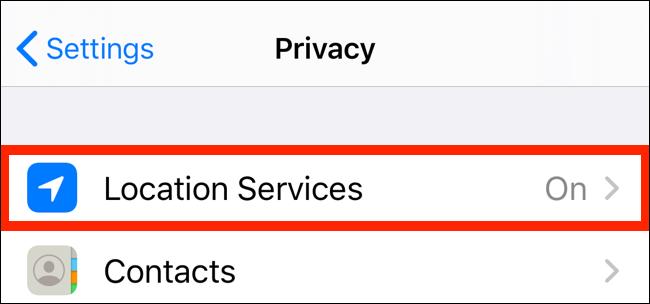 اضغط على خدمات الموقع من تطبيق الخصوصية