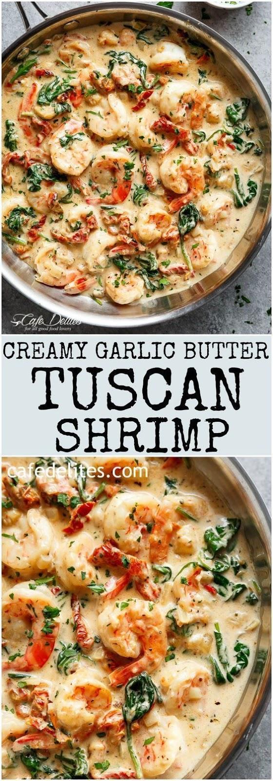 Delicious Creamy Garlic Butter Tuscan Shrimp