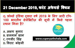 Daily Current Affairs Quiz in Hindi 21 December 2019