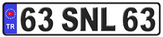 Şanlıurfa il isminin kısaltma harflerinden oluşan 63 SNL 63 kodlu Şanlıurfa plaka örneği
