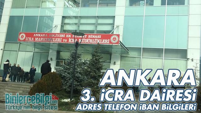 Ankara 3. İcra Dairesi Adresi, Telefonu, İBAN