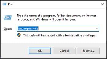 Command to open Device Manger devmgmt.msc