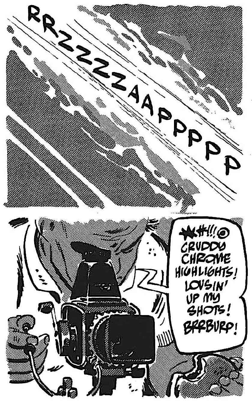 Alex Toth story panels about a professional race track photographer complaining