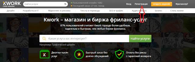 Регистрация на бирже Kwork ru