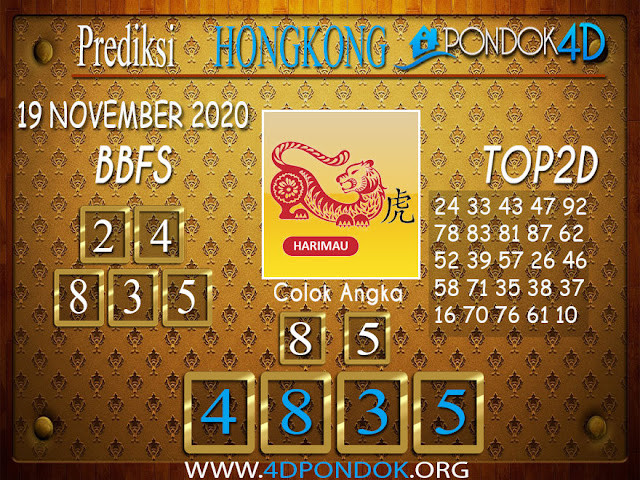 Prediksi Togel HONGKONG PONDOK4D 19 NOVEMBER 2020