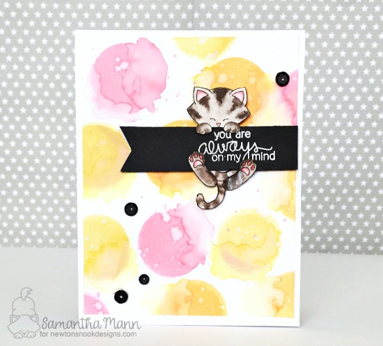 Cat on Banner Card by Samantha Mann| Newton's Birdbath Stamp set by Newton's Nook Designs #newtonsnook