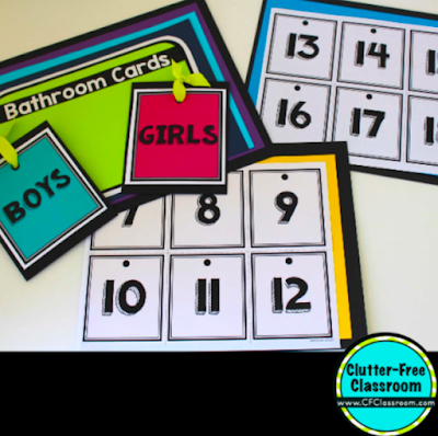 Check out these simple elementary bathroom breaks printable tracker and hall pass from the Clutter Free Classroom! Teaching kids how to track when they make bathroom trips will make classroom management for bathroom use easy for you. #classroommanagement #clutterfreeclassroom