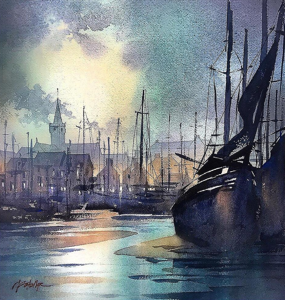 07-Moon-over-Anstruther-Thomas-Schaller-Watercolor-Paintings-Indoors-and-Outdoors-www-designstack-co