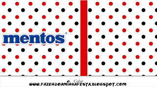 Red Polka Dots in Black and White Free Printable Mentos Labels.
