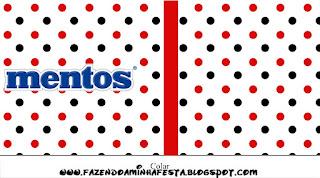 Etiquetas de Mentos  Lunares Rojos y Negros para imprimir gratis.