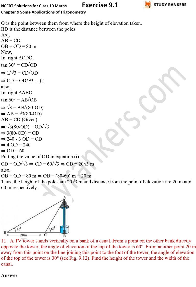 NCERT Solutions for Class 10 Maths Chapter 9 Some Applications of Trigonometry Exercise 9.1 Part 8