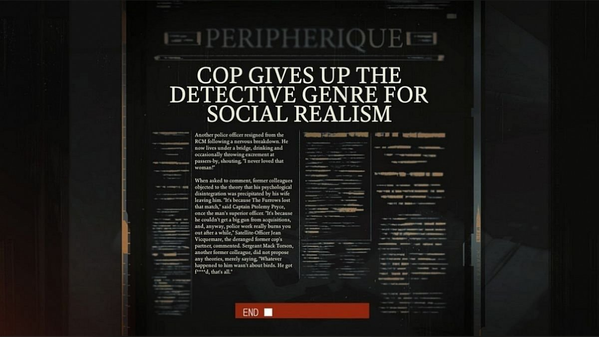 The cop abandons the detective genre in favor of social realism (Cop Gives Up The Detective Genre For Social Realism)