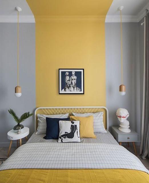 parede cinza e amarela