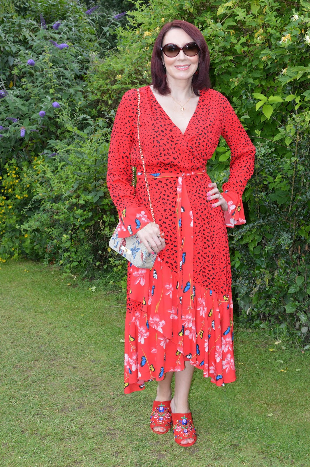 In Is This Mutton's Style Not Age Challenge post featuring Signature Colours, Emma from Style Splash chose red and is wearing a red dress with red patterned shoes