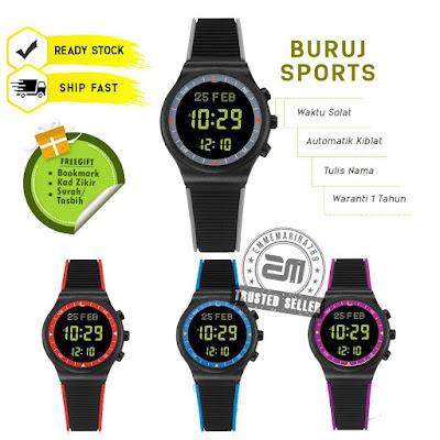 jam tangan solat digital buruj sport