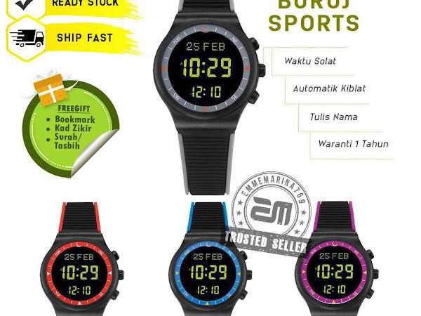 (Buruj Sport) Jam Tangan Solat Digital dan Arah Kiblat