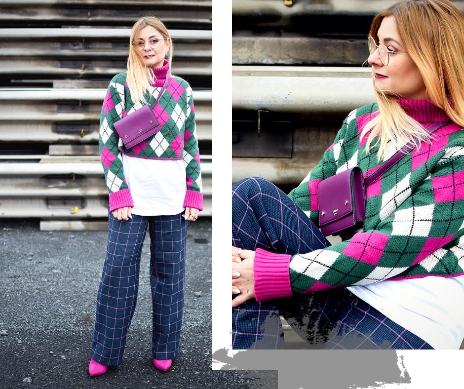 Outfit mit weiter Hose und Crop Pullover, Crop Sweater