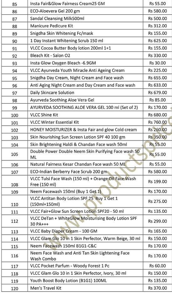 VLCC Skin Care products price list 2019