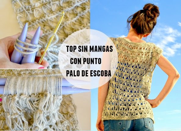 Top sin mangas con punto de escoba tutorial