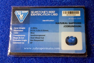 Batu Permata Royal Blue Saphire + Memo - ZP 323