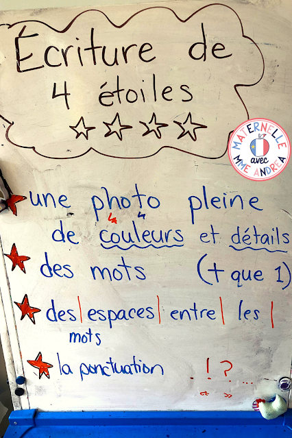 This is a picture of an anchor chart about revising and checking writing in the French primary grades.