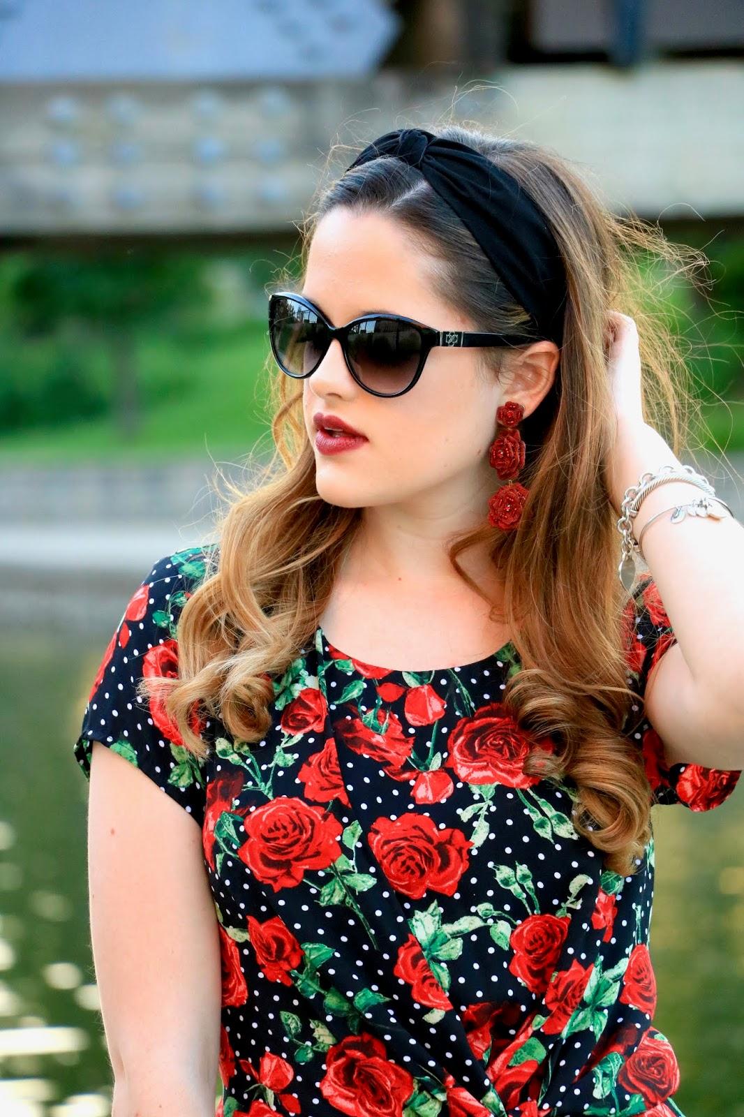 Nyc fashion blogger Kathleen Harper wearing rose statement earrings