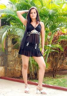 Meghna Patel aka Thaji Karaya thunder thigh and milky legs in black transparent babydoll 2
