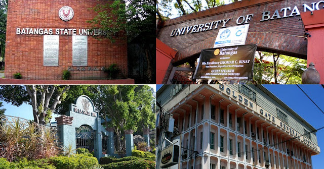 Collage of facades of some of Batangas' universities.