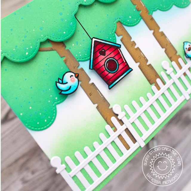 Sunny Studio Stamps: Scalloped Fence Dies Fluffy Cloud Border Dies A Birds Life Rustic Winter Die Card by Vanessa Menhorn