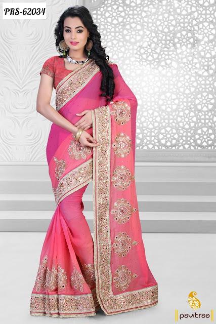 Buy Online Cheap Price Georgette Net Saree Designer ...