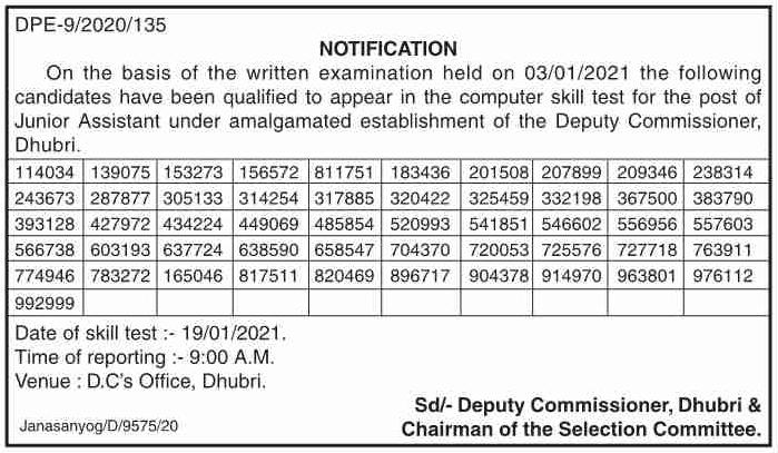 Deputy Commissioner, Dhubri Result 2021: