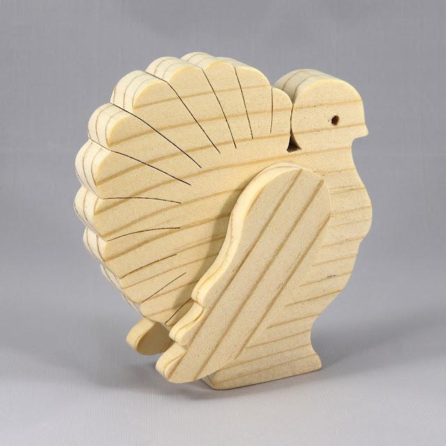 Handmade Wood Turkey Cutout 3D Layered Animal Toy Decoration