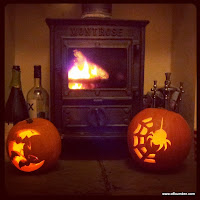 Pumpkins and a fire