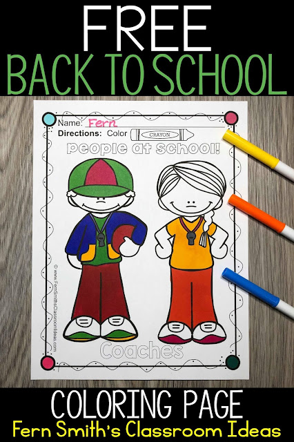 Free Back to School Coloring Page for your classroom to enjoy! From Fern Smith at #FernSmithsClassroomIdeas