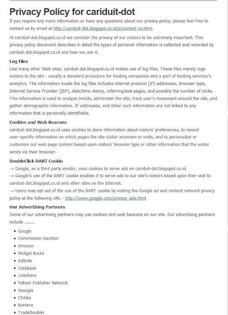 Cara Membuat Privacy Policy Pada Blog dengan Mudah