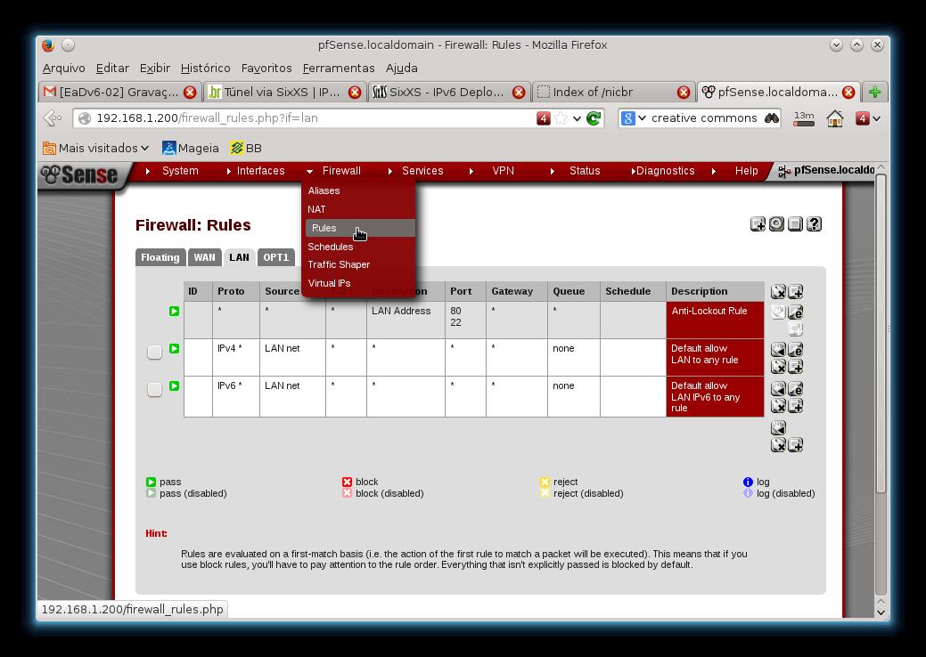 Página pessoal do Luzemário: Usando o IPv6 e o Firewall