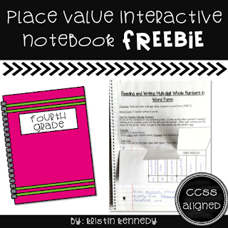 FREE Place Value Interactive Notebook. Find this and tons of other free ideas and activities for using QR codes in the elementary classroom. You'll find freebies for using QR codes in math, reading, for scavenger hunts, self-checking task cards, listening centers and more!