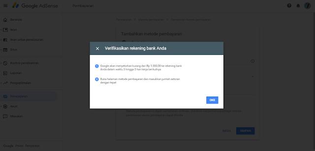 verifikasi bank bca di google adsense