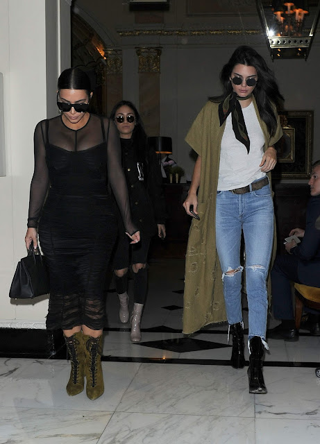 Actress, Model, @ Kendall Jenner & Kim Kardashian out in London