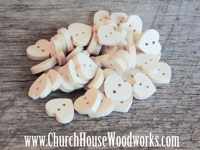 Wood Heart Buttons DIY Sewing Buttons Crafts Wedding