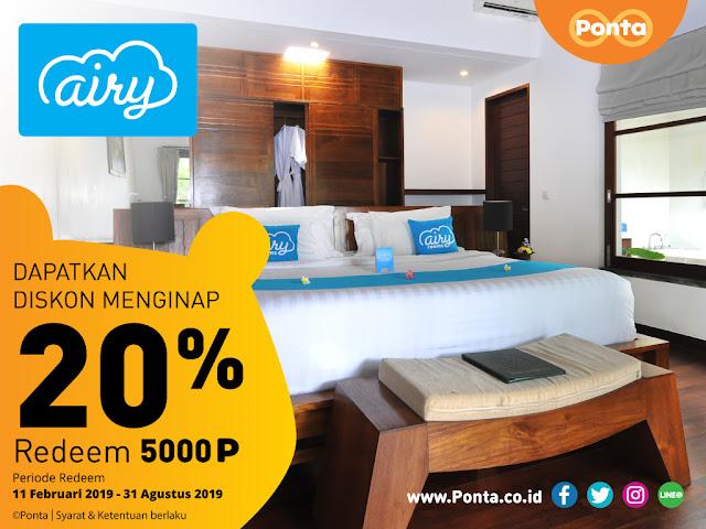 #Ponta - #Promo Redem 5000 Poin & Dapatkan Diskon 20% di Airy Rooms (s.d 31 Agustus2019)