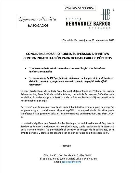 Robles Berlanga puede ocupar cargos públicos